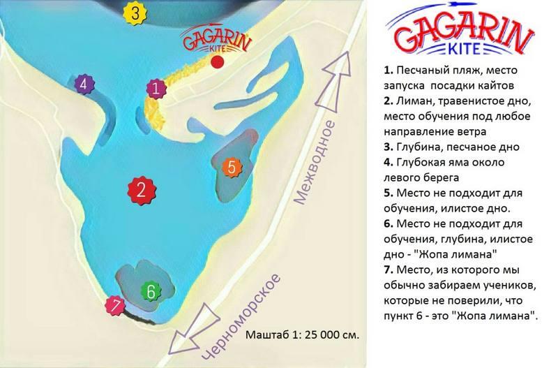 Схематическая карта кайт спота Межводное Крым фото
