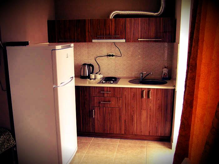 Кухня в номере люкс гостиницы Караван Сарай в Межводном